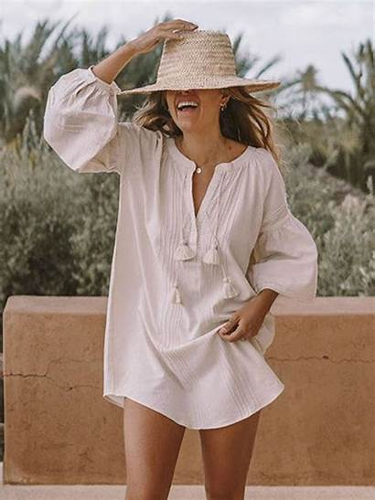 Loose Shirt Dresses Neck Casual Solid Modmiss