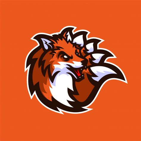 fox esport gaming mascot logo template vector premium