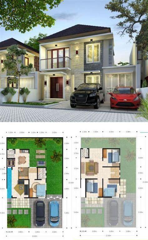 denah rumah minimalis  lantai  dilengkapi  kamar