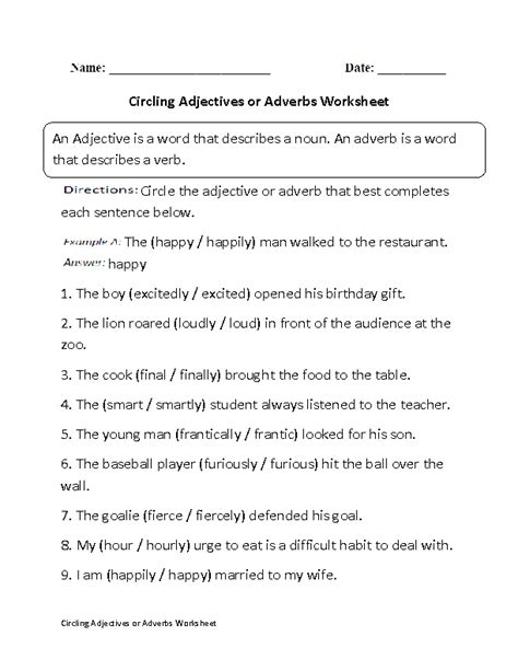 adjective and adverb worksheets for 5th grade adjectives worksheets adjectives or adverbs worksheets