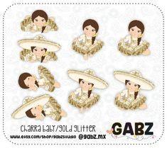 baby charro mexican folklore clipart gold glitter