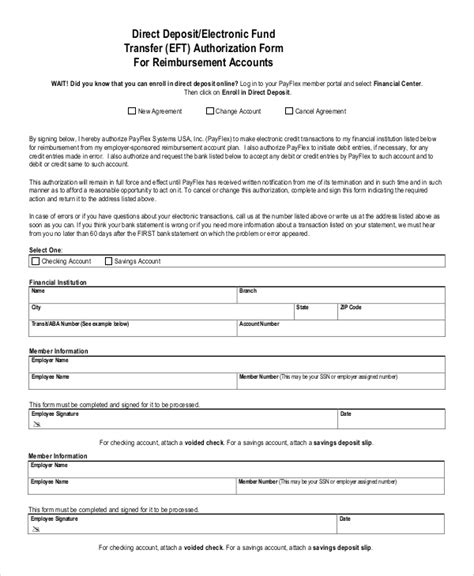 sample direct deposit authorization form  examples