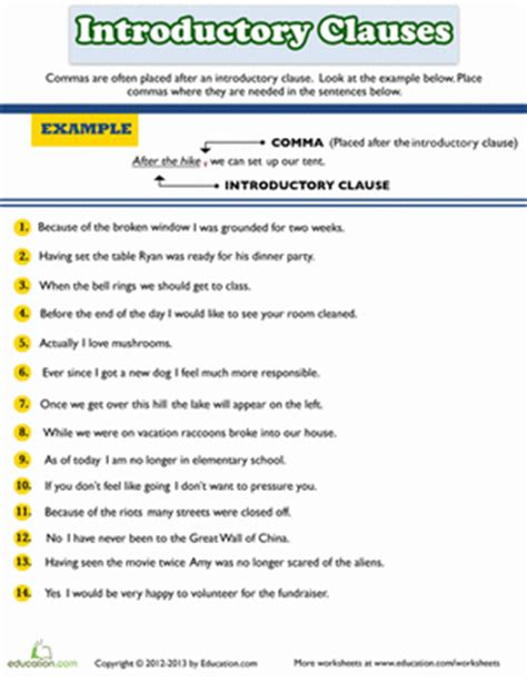 introductory clause phrase or word worksheets