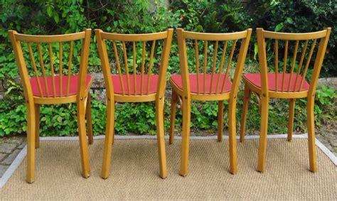 quatre belles chaises baumann vintage galette en ska 239 rouge
