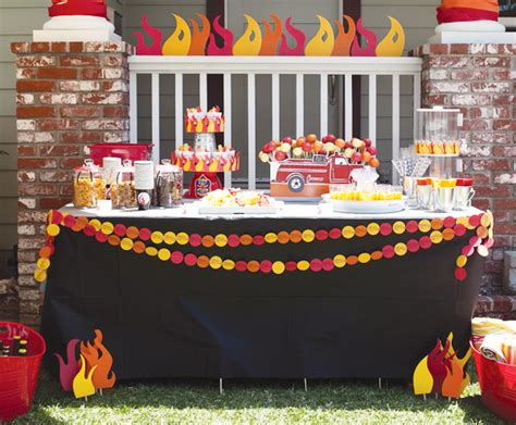 themed fireplace cutest firefighter party i ve seen fire truck theme dessert table we know how to do it