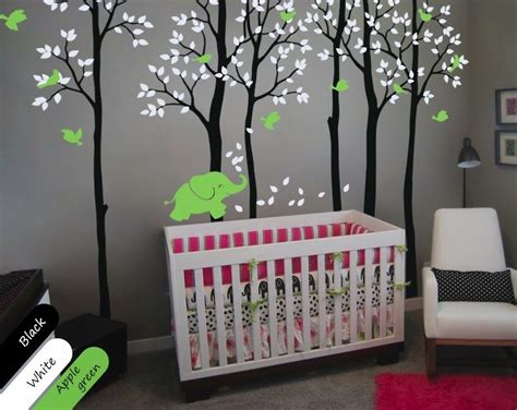 Tree Wall Decor For Baby Room by Birch Trees With Elephant And Birds Nursery Decor For Your
