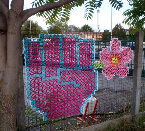 creative street art cross stitch murals  fences