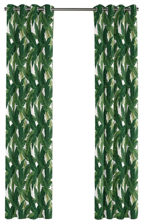 green banana leaf grommet curtain single panel tropical