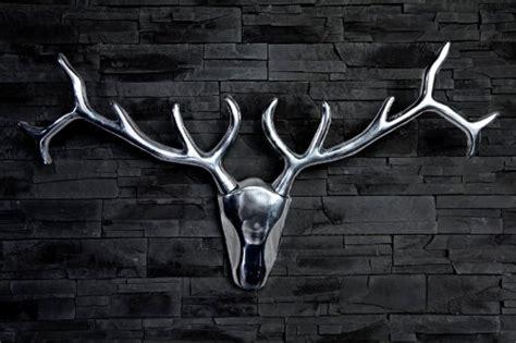 geweih deko silber designer geweih shine deko hirsch aus poliertem aluminium h 246 he 45 cm breite 90 cm wandfigur