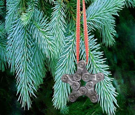 upcycled bicycle link decor bike chain star ornament