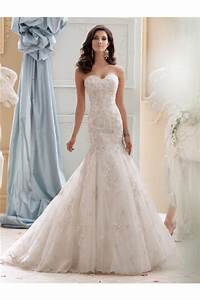 Fit and flare strapless ivory tulle lace beaded wedding dress for Fit and flare tulle wedding dress