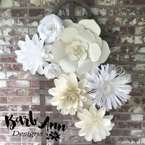 white  cream large paper flower backdrop barb ann designs