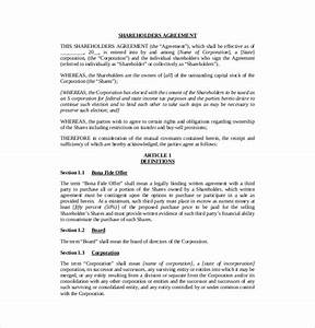 shareholder agreement templates 11 free word pdf With shareholder agreements template