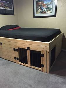 bed with built in dog crate house and home pinterest With dog crate under bed