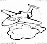 Clouds Coloring Above Clipart Outline Illustration Royalty Airliner Rf Lal Perera Background sketch template