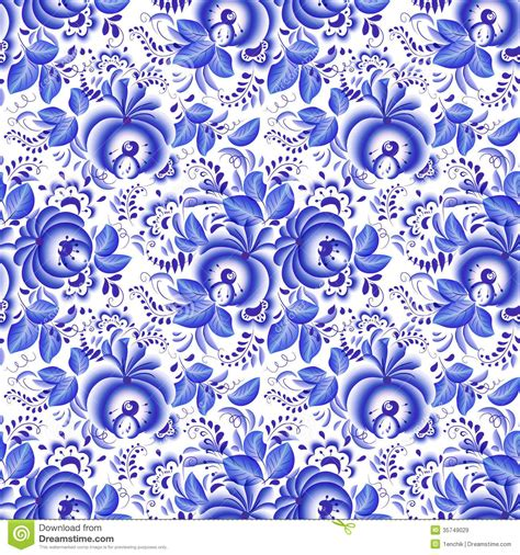 blue and white floor l ornate blue and white floral seamless pattern stock vector