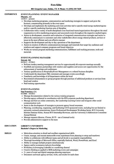 Event Planning Resume by Event Planning Resume Sles Velvet