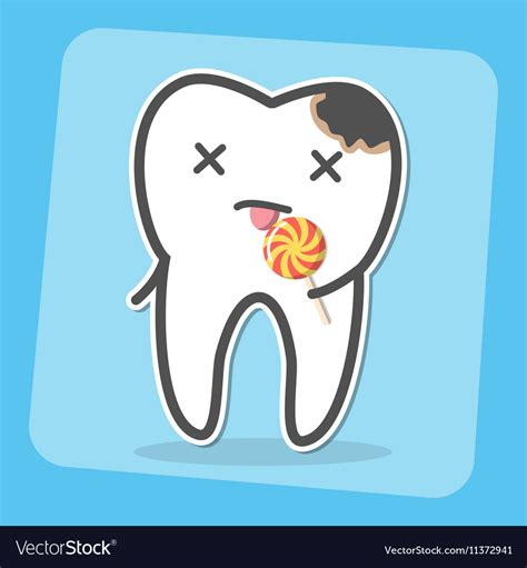 Bad Tooth With Caries Cavity And Lollipop Vector Image