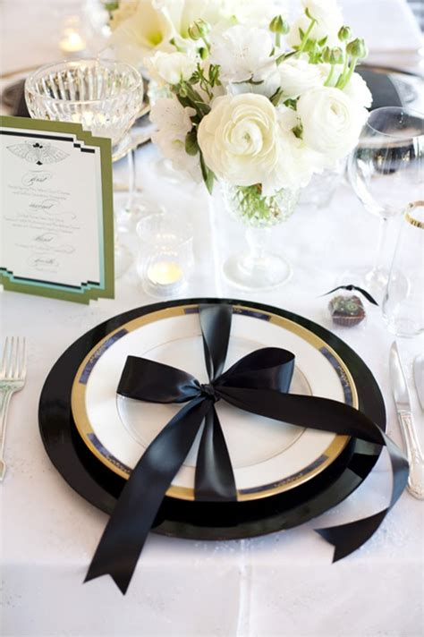 black and white dinner table setting black and gold wedding table
