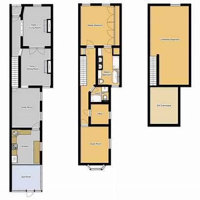 Narrow Plans Floor Houses Row Lot Bathroom