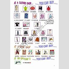 Picture Dictionary  Clothes And Shoes  Esl Worksheet By Vyvy