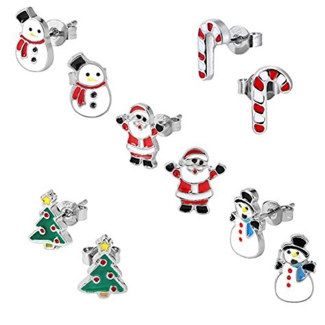 best hypoallergenic christmas trees stud earring set pack of 5 pairs hypoallergenic gift earrings for