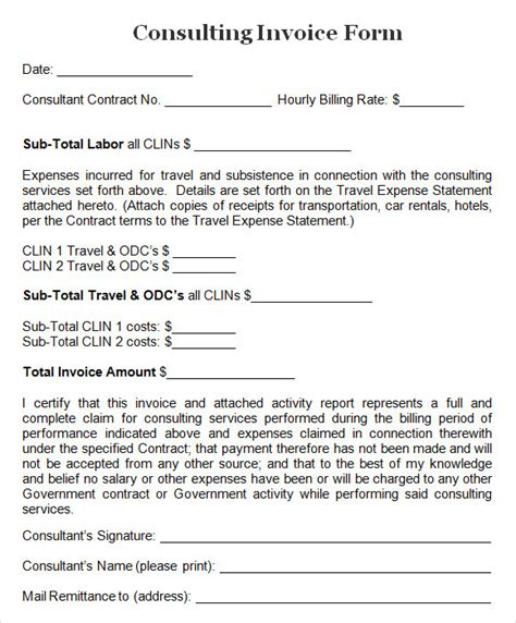 consulting templates 8 consulting invoice sles sle templates