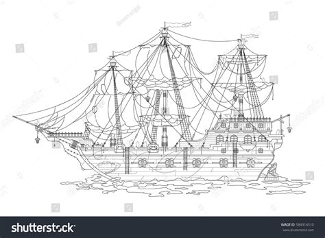 Outline Sketch Old Pirate Ships Coloring Stock Vector