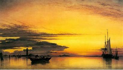 Painting Oil Sunset Backgrounds Wallpapers Desktop Drawing