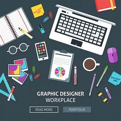 Graphic Workplace Freepik Designer Grafisch Ontwerper Werkplek