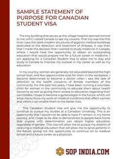 visa statement  purpose  preparation differences