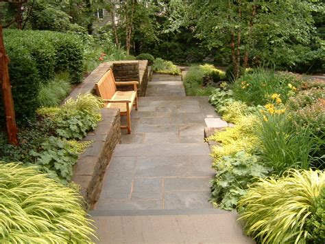front walkway garden plans bluestone walkway with bench traditional landscape new york by statile todd