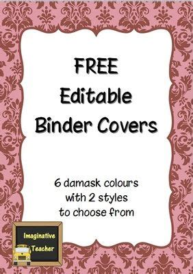 editable binder cover templates free editable binder covers damask from imaginative on teachersnotebook 14
