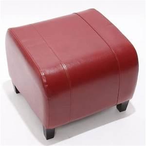 Pouf Sur Pied : pouf tabouret repose pieds cuir 37x45x47 cm rouge achat ~ Teatrodelosmanantiales.com Idées de Décoration