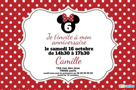 minnie mouse carte invitation anniversaire fille cartes