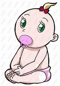 Baby Girl With Soother Clip Art - Royalty Free Clipart ...