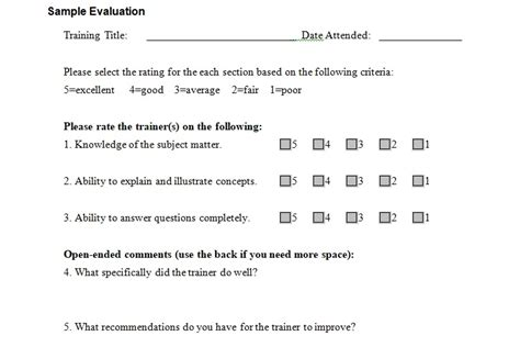 sample training evaluation form template excel tmp