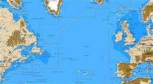 A map of the North Atlantic showing the west to east ...