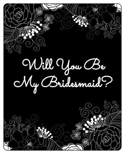 Will You Be My Bridesmaid Wine Label Template by Inverted Black White Floral Quot Will You Be My Bridesmaid