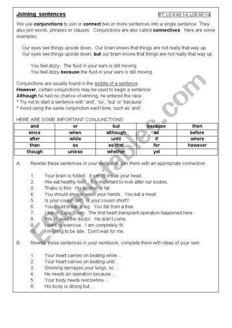 Joining Sentences  Esl Worksheet By Lieselc