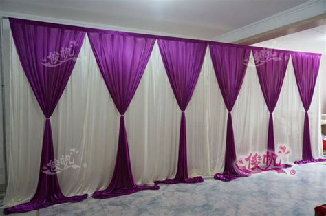 New Fashion 10ft*20ft wedding stage curtain purple Wedding Backdrop with Beatiful Purple Swag