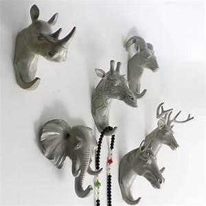 Tete D Animal Murale : acheter t te d 39 animal de r sine artisanat robe crochets d coration murale de ~ Teatrodelosmanantiales.com Idées de Décoration