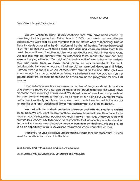 apology letter  teacher  misbehavior apologyparents