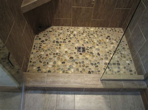 tile shower floor river rock