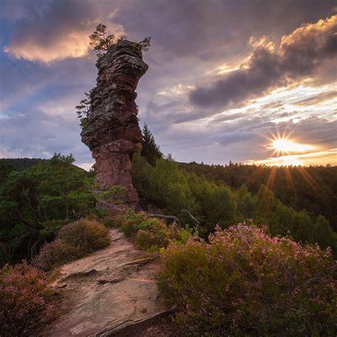 Lämmerfelsen bei Sonnenuntergang Dahner Felsenland