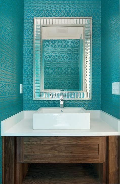 Thibaut Bimini Ikat Wallpaper   Transitional   bathroom