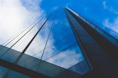 white  blue building  daytime  stock photo