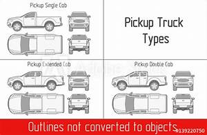 U0026quot Truck Pickup Types Template Drawing Vector Outlines Not