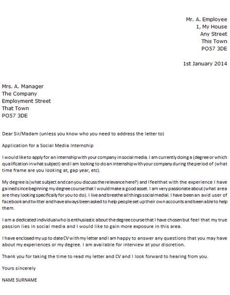 social media intern cover letter exle icover org uk