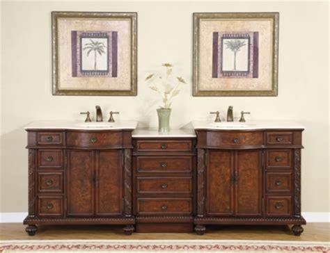 traditional double bathroom vanity  cream